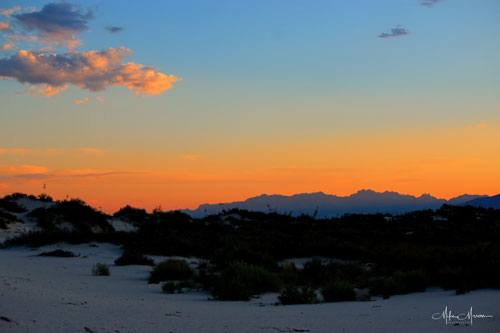 Sunset Over White Sands National Monument New Mexico