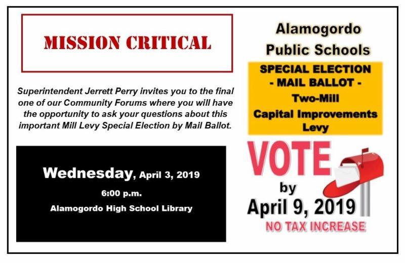Special Election Mail Ballot Alamogordo Public Schools